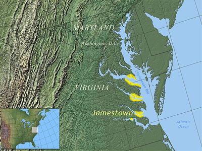 This is a geographical map showing the east coast of the United States along the middle of the Atlantic Ocean. From north, the locations of Maryland, Washington, D.C., Virginia and Jamestown are labeled on the map. The Chesapeake Bay extends from Maryland through Virginia. The mouths, or openings, of three tributaries along the western portion of Chesapeake Bay are highlighted.
