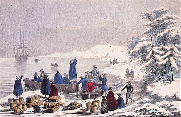 painting of the landing of the pilgrims on Plymouth Rock in a snowy December, 1620