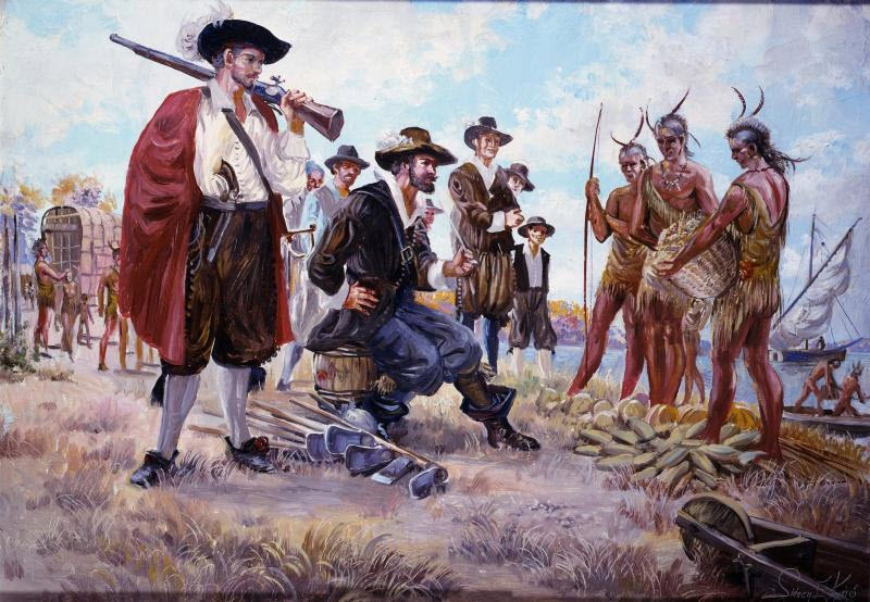 This Painting Depicts Captain John Smith Trading Goods With Native Americans