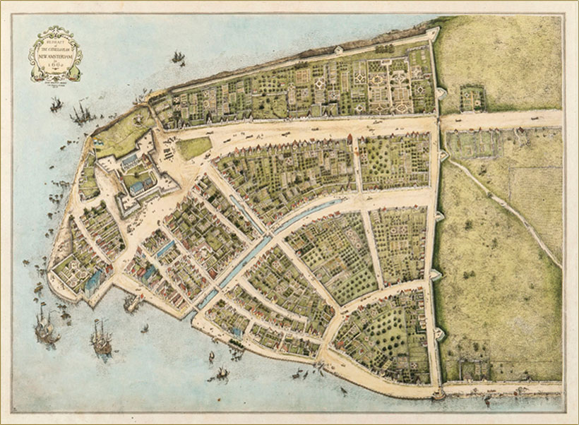 map showing new amsterdam from above in 1620