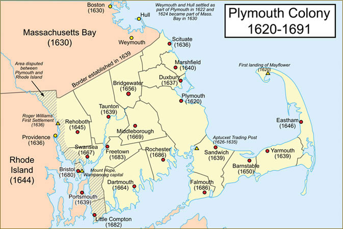 map showing plymouth colony 1620 1691